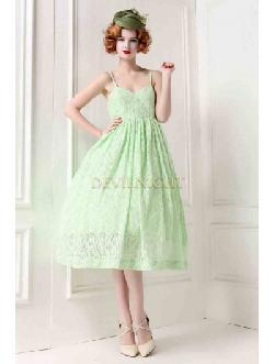 Devil Night - ELEGANT 2013 NEW STYLE GREEN HOLIDAY SPAGHETTI STRAP LACE 1950S DRESS
