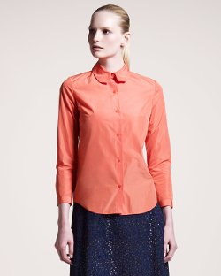 Carven  - Long-Sleeve Taffeta Shirt