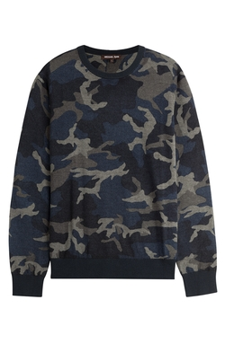 Michael Kors - Printed Merino Wool Pullover Sweater