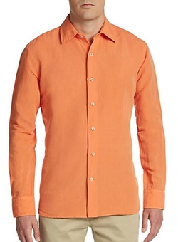 Saks Fifth Avenue  - Regular-Fit Solid Linen & Cotton Sportshirt