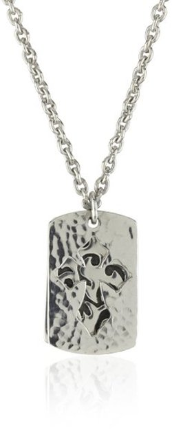 LH MEN by Lois Hill - Thai Weave Open Cross Double Dogtag Necklace