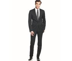Calvin Klein  - Solid Wool Black Slim X Fit Suit