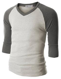 Doublju  - Raglan Baseball V-Neck 3/4 Sleeve Shirt