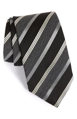 Eton - Stripe Silk & Wool Tie