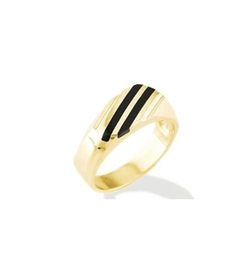 Vistabella - Yellow Gold Solid Black Onyx Stripes Ring