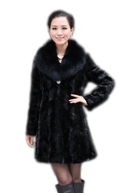 Queenshiny - Long Mink Fox Collar Fur Coat