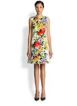 Dolce & Gabbana  - Floral-Print Brocade Dress