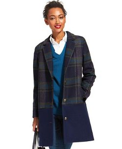 Tommy Hilfiger - Plaid Colorblocked Pea Coat