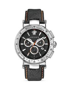 Versace  - Mystique Sport Chronograph Stainless Steel Round Watch with Black Guilloche Dial