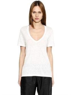 Isabel Marant ÉToile - V Neck Linen Jersey T-Shirt