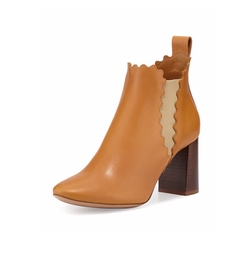 Chloe  - Scalloped Leather Chelsea Boots