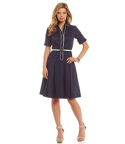 Jones New York  - Belted Fit-and-Flare Shirt Dress