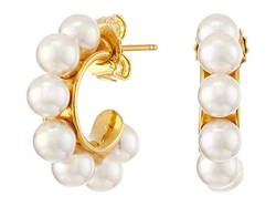 Majorica - Round Pearl Gold Earrings
