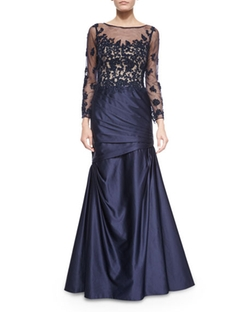 La Femme -  Long-Sleeve Ruched Lace & Satin Gown