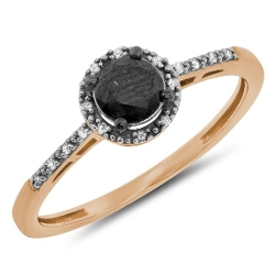 Jewel Tie - Black White Diamond Ladies Bridal Halo Engagement Ring