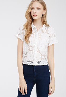 Forever 21 - Collared Lace Shirt