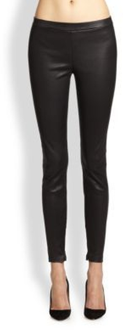 Vince - Zip-Cuff Leather Leggings
