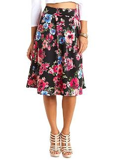 Charlotterusse - Floral Print Full Midi Skirt