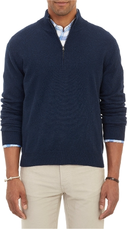 Barneys New York  - Cashmere Half-Zip Sweater