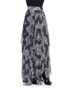 Alice + Olivia  - Ryley Diamond-Mosaic-Print Pleated Skirt