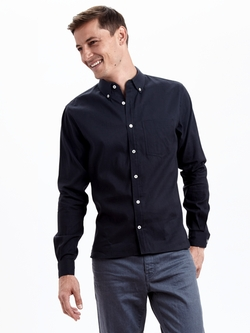 Zady  - Navy Organic Long Staple Button Down Shirt