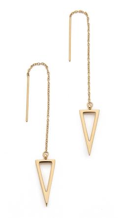 Rebecca Minkoff  - Long Triangle Frame Threader Earrings