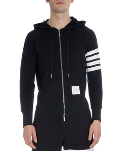 Thom Browne  - Zip-Up Hoodie with Striped-Sleeve