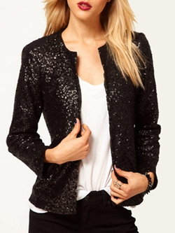Romwe - Black With Sequined Slim Black Blazer