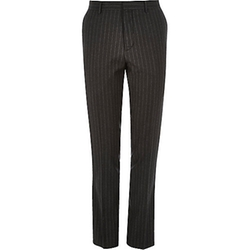 River Island - Dark Grey Pin Stripe Skinny Suit Pants