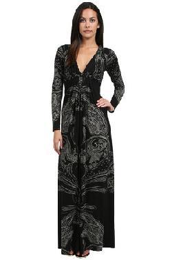 Sky  - Murchad Long Sleeve Maxi Dress in Black