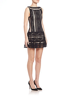 Alice and Olivia - Wendie Embroidered Waist Drop Dress