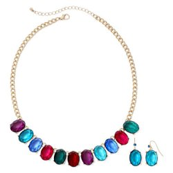 Mixit - Multicolor Earring and Necklace Set