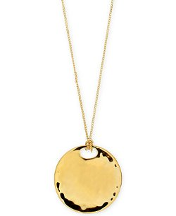 Robert Lee Morris Soho  - Gold-Tone Hammered Circle Pendant Necklace
