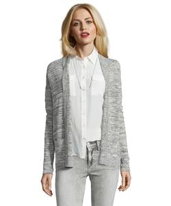 Wyatt - Light Grey Linen Blend Marled Knit Open Front Cardigan