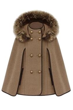 Pink Queen - Detachable Fur Hood Cape Coat