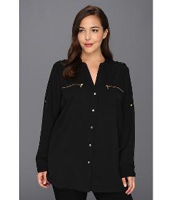 Calvin Klein  - Plus Size Zipper Roll Sleeve