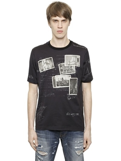 Dolce & Gabbana - Postcards Patches On Cotton T-Shirt