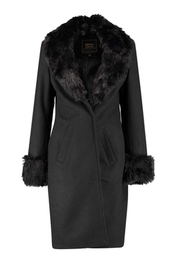 Boohoo - Anee Faux Fur Cuff Collar Coat