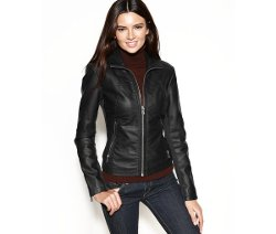 Kenneth Cole - Faux-Leather Zippered-Cuff Jacket