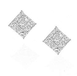 iJewelry2 - Square Invisible Cut Stud Earrings