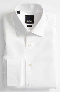 David Donahue - Trim Fit Twill French Cuff Tuxedo Shirt