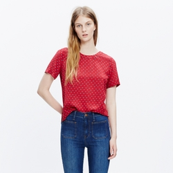 Madewell - Silk Refined Tee In Foulard Dot