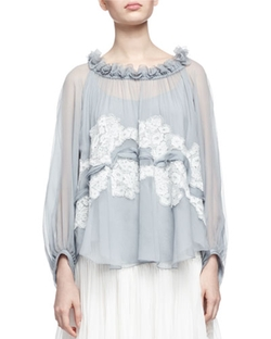 Chloe - Lace-Trimmed Ruffled-Neck Blouse