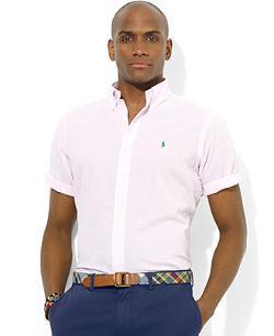 Polo Ralph Lauren  - Classic-Fit Short-Sleeved Striped Seersucker Shirt