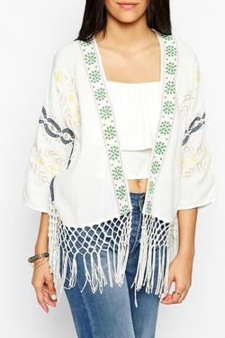 Hazel - Embroidered Fringed Kimono