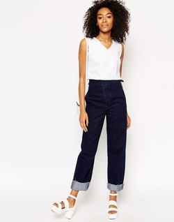 Asos Collection - Cropped V Neck Raw Hem Top