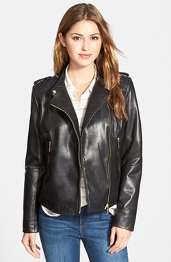 Bernardo - Asymmetrical Zip Leather Moto Jacket
