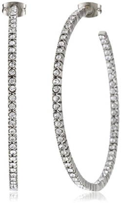 "Azaara - ""Crystal"" Sliver Hoops Earrings"