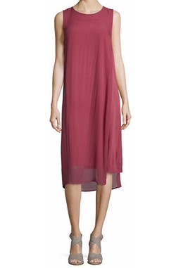 Eileen Fisher - Sleeveless Silk Sheer-Overlay Dress