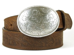 Double-S - Oval Tooled Buckle Leather Belt